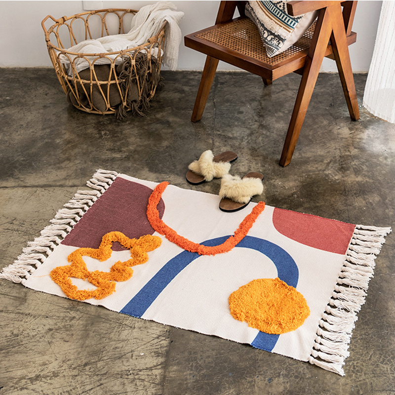 Cotton Rug Modern Nordic Geometric Area Carpet Home Tapetes Living Room Decoration Floor Mat Door Mats Rugs Hotel Decor 60x90cm