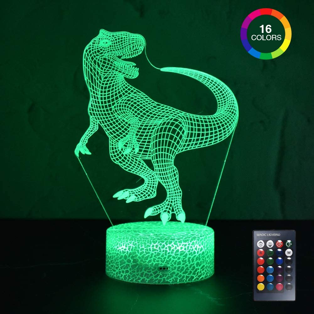 Desktop Bedside 3D LED Night Light Dinosaur With Remote Control 16 Color Changing And Touch Ice Crack Base For Kids Holiday Gift