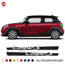 2 Pcs Car Door Side Stripes Skirt Sticker Body Graphics Vinyl Decal For MINI Cooper F56 2014-2019 JCW Accessories Car Styling цена в Москве и Питере
