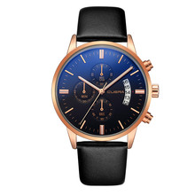 Relogio Luxury Sapphire Crystal Men Watches Leather Strap Three Eyes Dial Watches Male Analog Quartz Wrist Clock Montre homme
