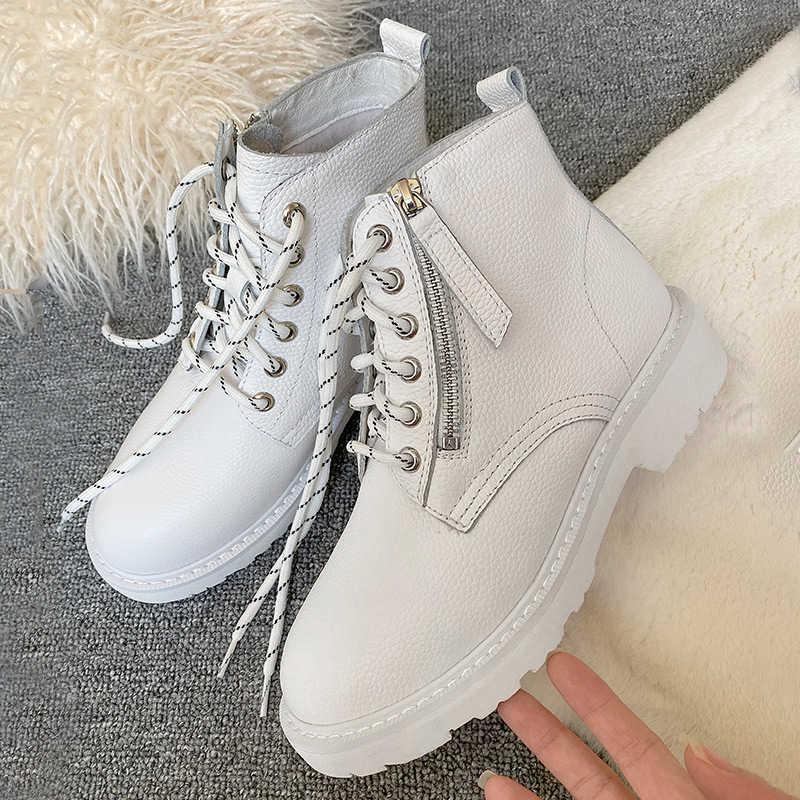 Donna-sıcak yün kadın yarım çizmeler sonbahar kış platform ayakkabılar Lace Up hakiki deri beyaz martin çizmeler kar kürk kadın