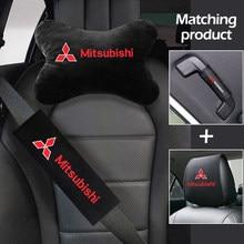 Car seat set headrest cover seat belt pull gloves headrest for mitsubishi lancer asx outlander pajero l200 galant