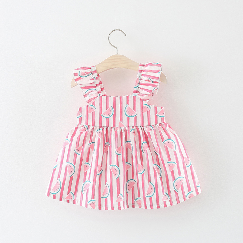 Toddler Baby Kids Girls Floral Ruched Bow Watermelon Princess Dress Clothes Hat