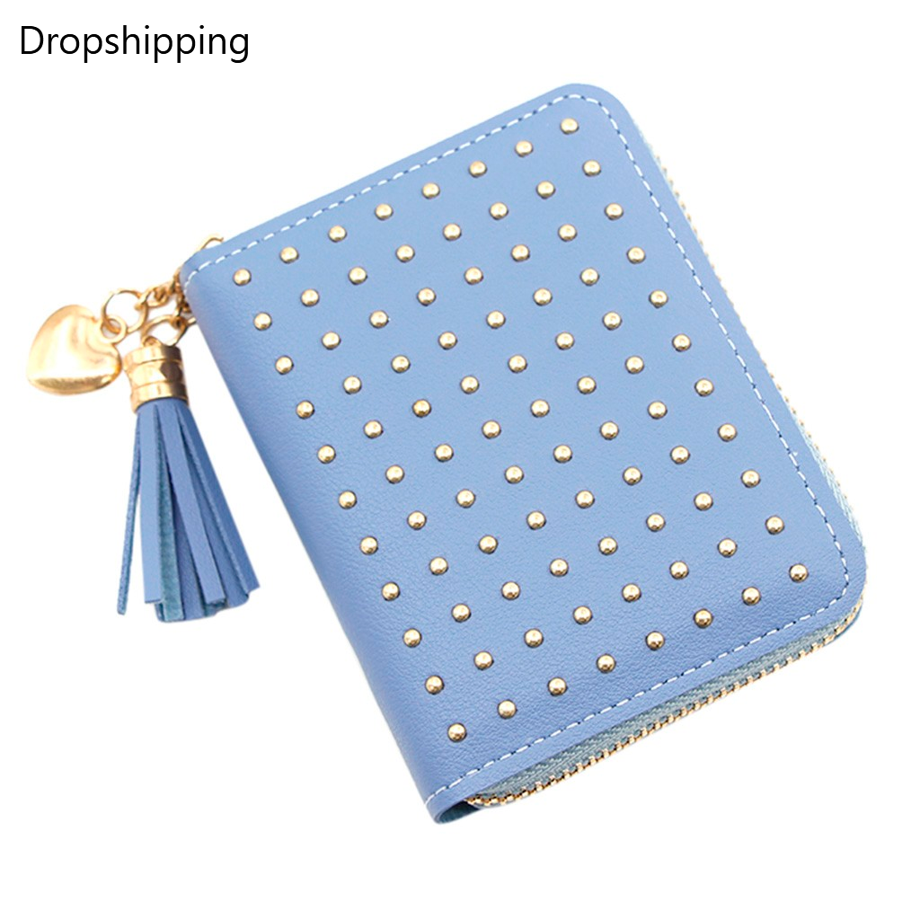 Fashion Trend Solid Color Women's Small Change Mini Money Bags Short Tassel Rivet Dark Leather Card Holder Wallet Purse Bag #2