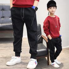 Korean Fashion Children Boys Clothing Casual Jeans Pencil Pants Elastic Waist Denim Cotton White Line Trousers 4-13Y Pants Boys цена и фото