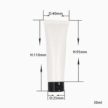 100pcs 30ml White Soft Tube Cosmetic Packaging with Fold Lid