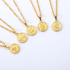 Constellation Coin Necklace Female Jewelry Zodiac Letter Necklace For Women Stainless Steel Gold Chain Best Friendship Gift