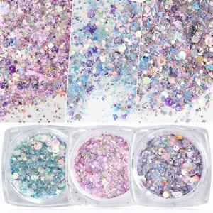 Image 1 - 1 kutu Nail Mermaid Glitter gevreği Sparkly 3D altıgen renkli payetler payetler lehçe manikür çivi sanat süslemeleri TRDJ01 12