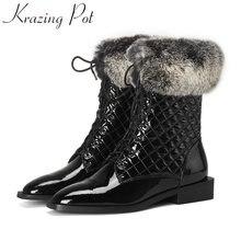 Модные зимние сапоги krazing pot из коровьей кожи с меховой