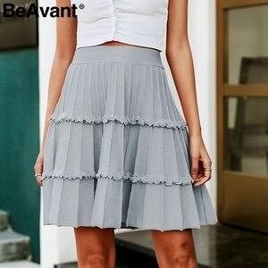 Image 1 - BeAvant plissé tricoté hiver jupes femmes une ligne à volants taille haute mini jupe femme 2019 automne rose jupes courtes dames