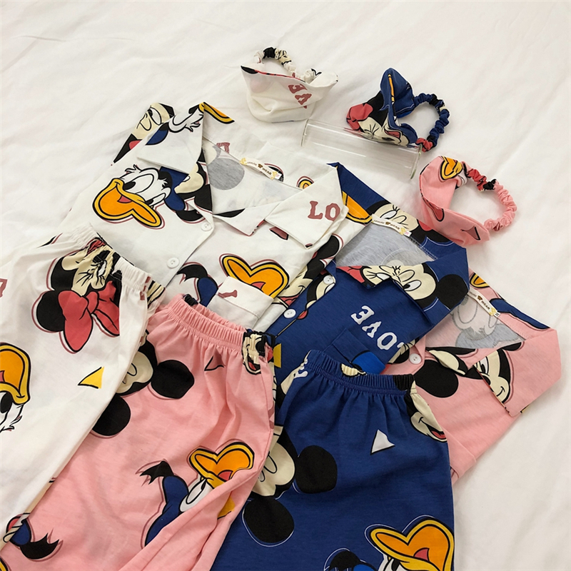 Caiyier Cute Pink Mickey Print Pajamas Set Girls Summer Cotton Short Sleeve Sleepwear  With Eye Mask Casual Women Homewear 2020
