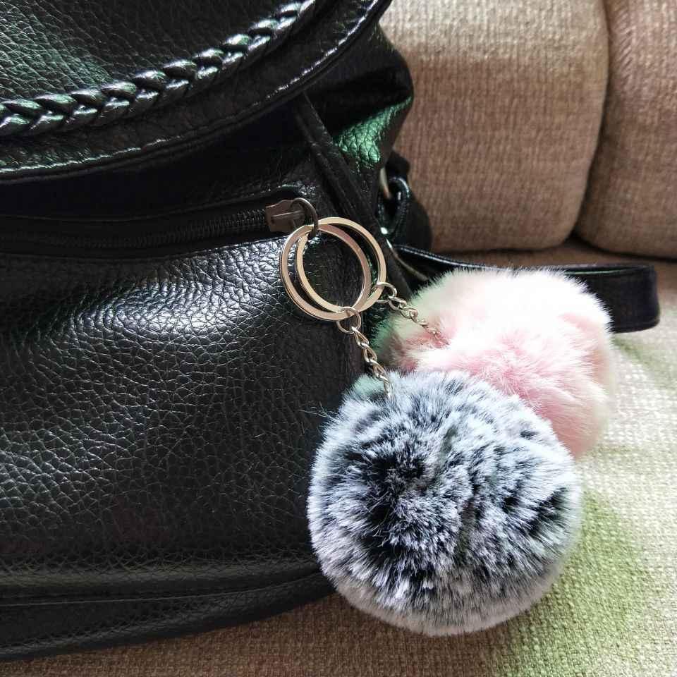8CM 27 Màu Sắc Lông Tơ Lông Thỏ Bóng Móc Khóa Dễ Thương Kem Đen Pompom Nhân Tạo Lông Thỏ Móc Khóa Nữ Xe Ô Tô túi Khóa