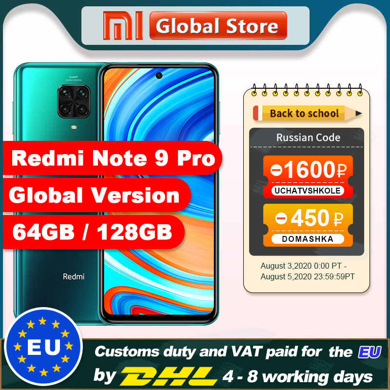 Global Versie Redmi Note 9 Pro 6Gb 64Gb/6Gb 128Gb Nfc Smartphone Snapdragon 720G octa Core 64MP Quad Camera