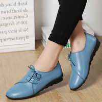 Fashion Women Flats Soft Leather Round Head Women Casual Flats Ladies Side Flat Oxford Shoes Genuine Leather New Mother Shoes