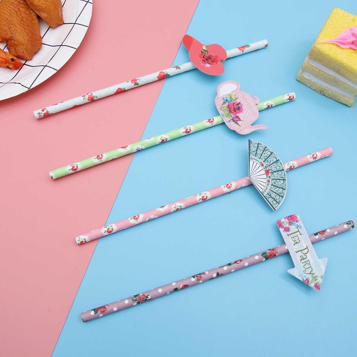 12 قطعة من القش رائعتين ورقة الإبداعية الشاي تحت عنوان 4 نمط القش أدوات الشرب لوازم الحفلات لحزب الشاي