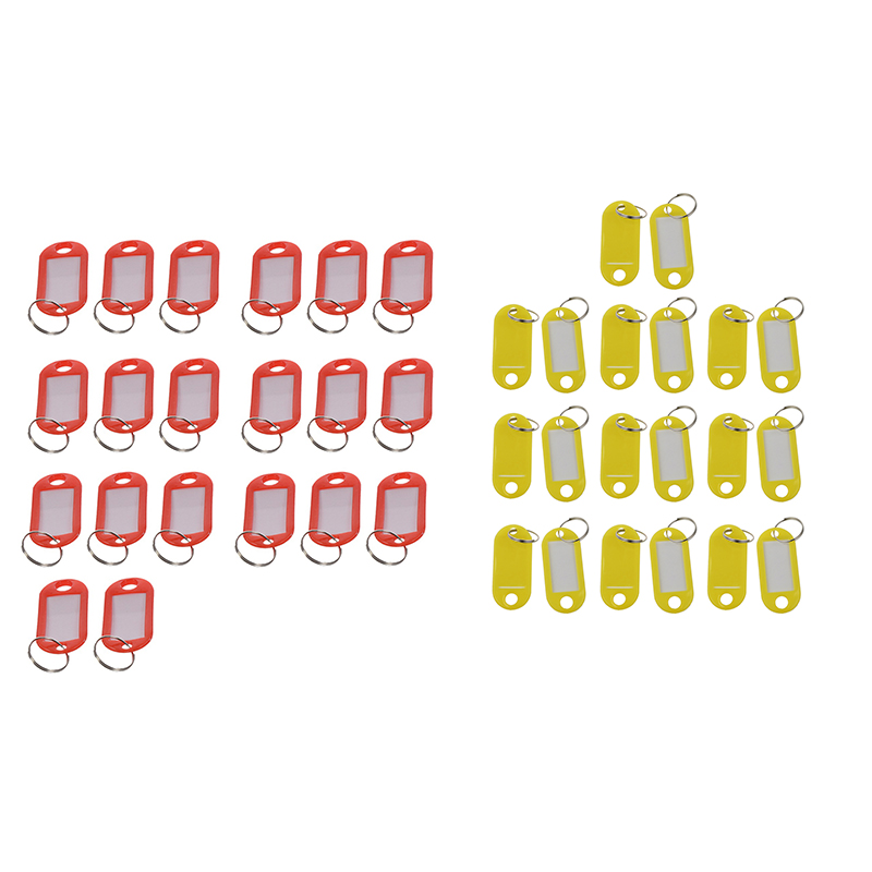 40 Pcs Assorted Key ID Label Tags Split Ring Keyring Keychain, 20 Pcs (Red) & 20 Pcs (Yellow)