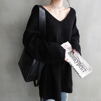Ailegogo Women V-neck Sweater Loose Fit Autumn Winter Warm Casual Knitted Tops Female Long Solid Color Knit Pullovers 2