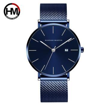 Japonia ruch zegarki na rękę ciemnoniebieski wodoodporna stal nierdzewna opaska siatkowa męska Top luksusowa marka biznes zegarki na rękę dla mężczyzn tanie i dobre opinie VA VA VOOM 9 5inch simple QUARTZ 3Bar Składane bezpieczne zapięcie CN (pochodzenie) Mosiądz SZAFIROWY KRYSZTAŁ Kwarcowe zegarki