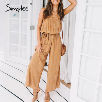 Simplee Off shoulder sexy jumpsuit women elegant Sashes jumpsuit long rompers Summer solid leopard print overalls playsuit 2019 1