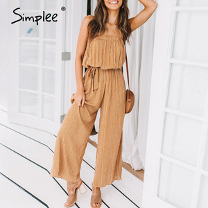 Image 2 - Simplee Off shoulder sexy jumpsuit women elegant Sashes jumpsuit long rompers Summer solid leopard print overalls playsuit 2019