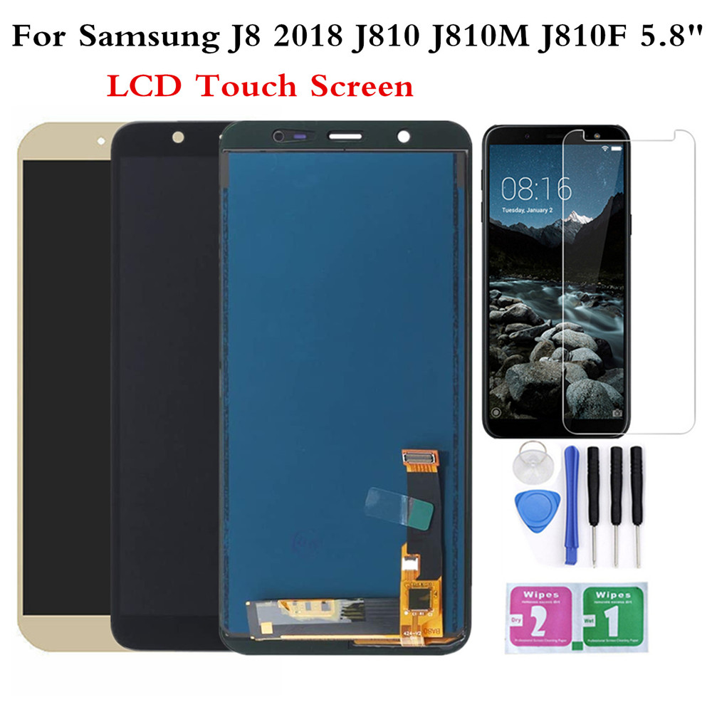 <font><b>LCD</b></font> For <font><b>Samsung</b></font> <font><b>J8</b></font> <font><b>2018</b></font> J810 J810FN Display Touch Screen Digitizer Assembly replaced screen With Tools Tempered Glass Film image