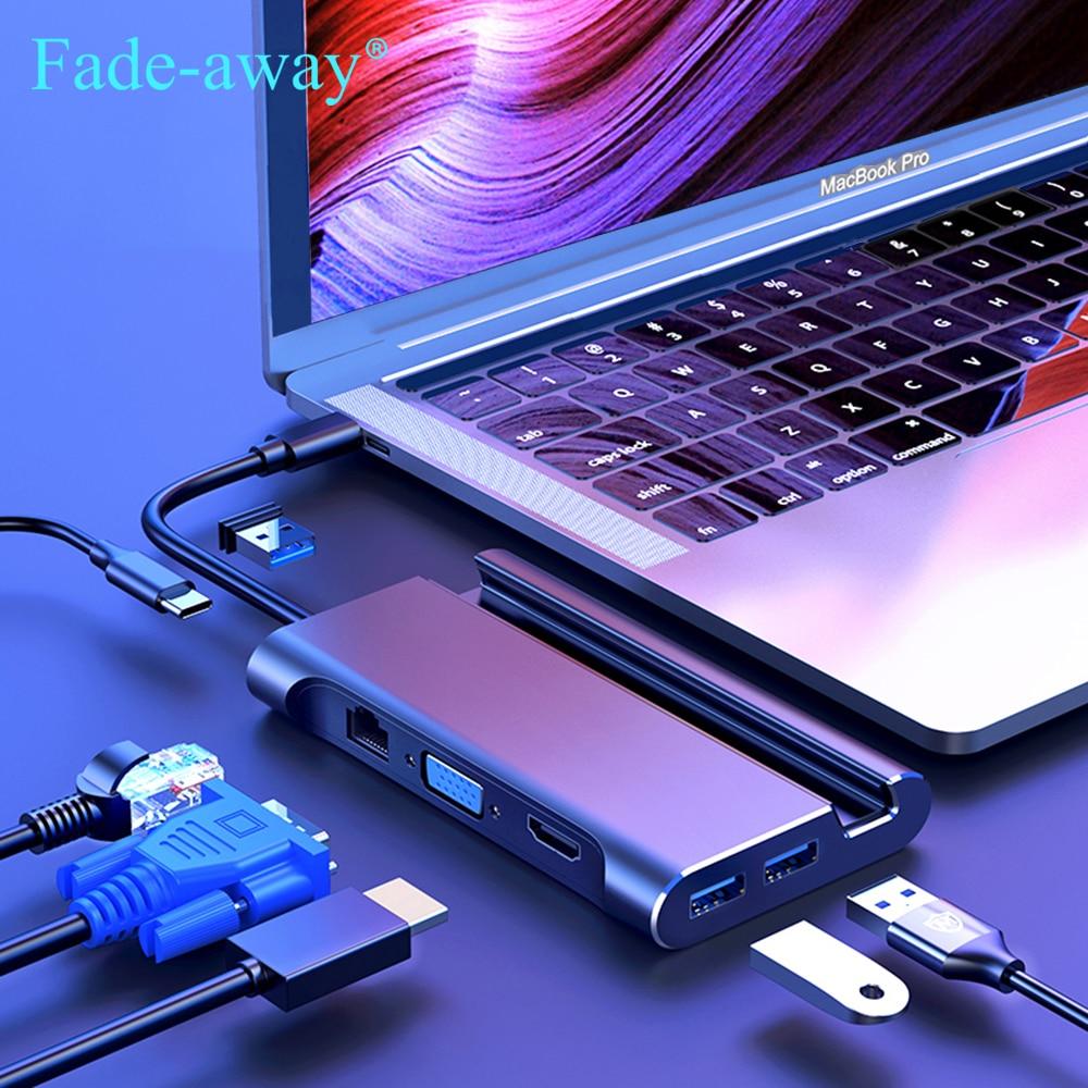 USB 3.1 Type C Dock Hub to USB 3.0 Type C VGA RJ45 PD HDMI-compatible USBC HUB for Laptop USB Docking Station Adapter Converter