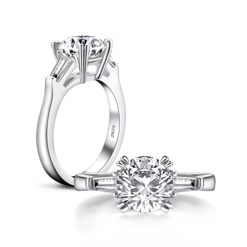 AINOUSHI classique 925 solide en argent Sterling 2 carats taille ronde 3 bague en pierre pour les femmes de mariage bague de fiançailles - 3