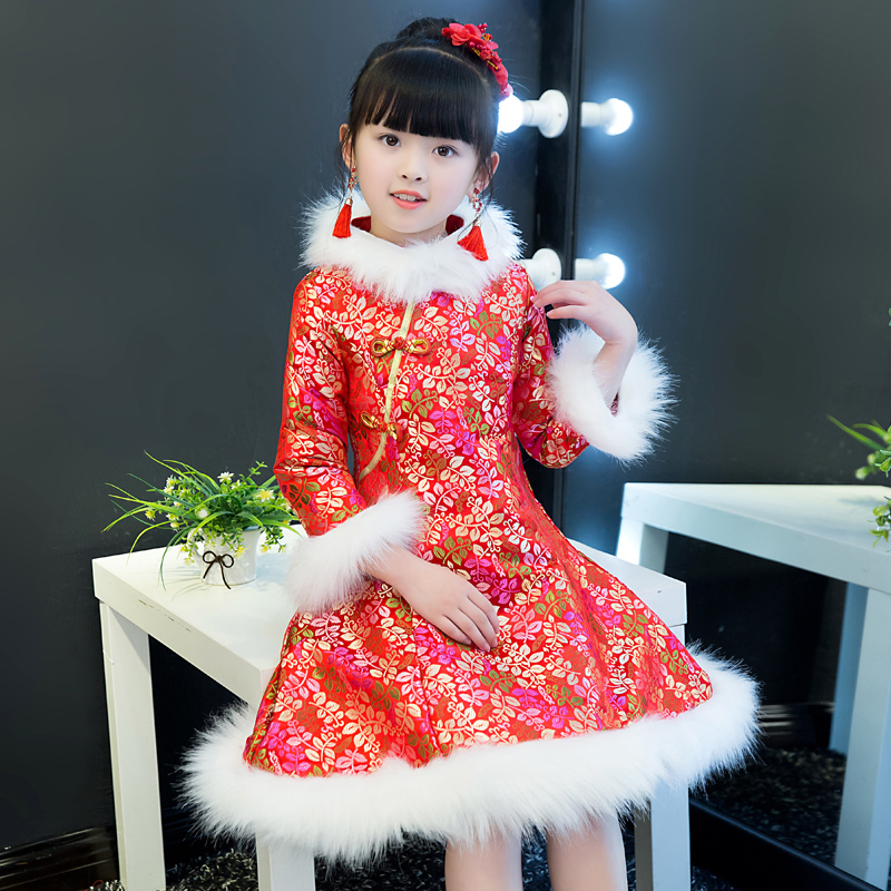 New Year Dress For Girls Chinese Traditional Dress Cheongsam Winter Thick And Quilted Qipao Children Chinese Clothing