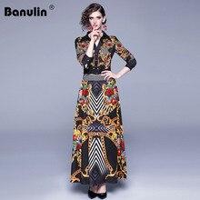 Banulin Newest 2019 Fall Runway Maxi Dress Women's Long Sleeve V-Neck Retro Printed Celebrity Evening Party Long Dress vestidos retro v neck long sleeve printed long dress
