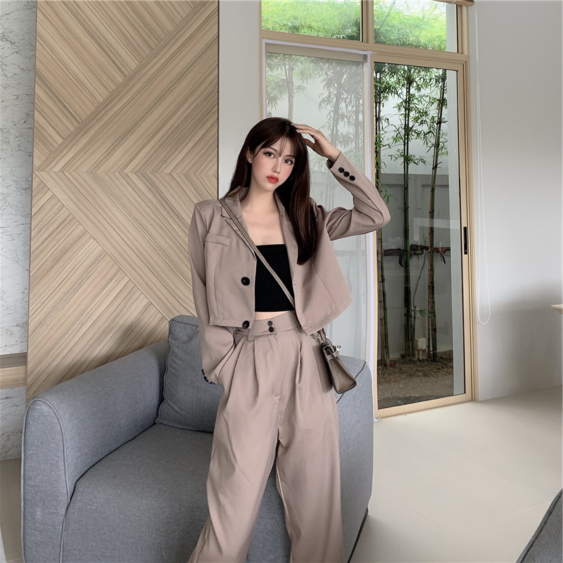 Korean Women Suits Sexy Pant Suits For Women Tailleur Femme Short Blazer Set Conbinaison Femme Ropa Traje Mujer