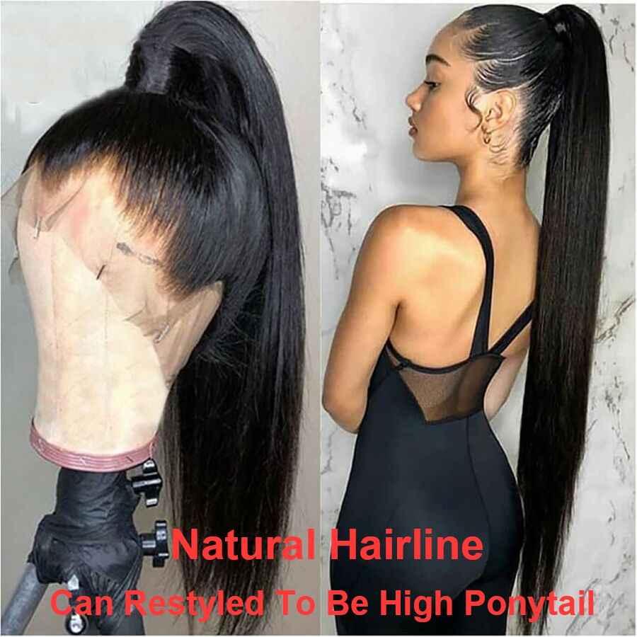 Peluca con malla Frontal de encaje recto 13x6, pelucas de cabello humano para mujeres negras, peluca Frontal de encaje brasileño 360, peluca Remy prearrancada