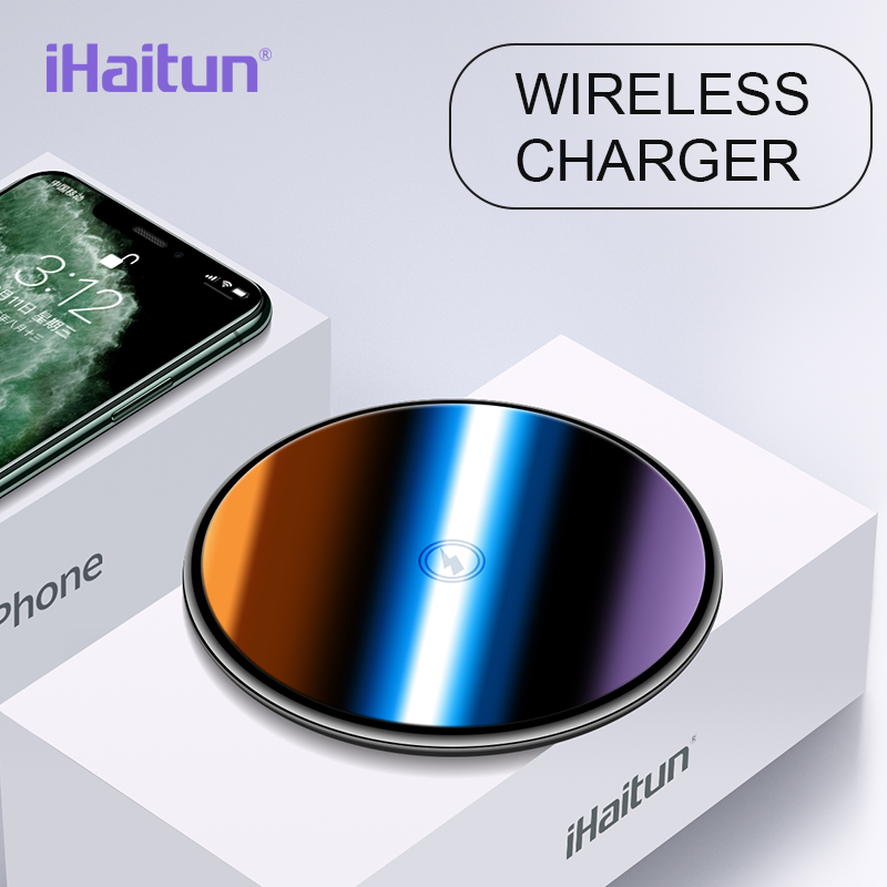 IHaitun Luxury Qi Wireless Charger Pad Fast Charging For IPhone 11 Pro Mobile Phone Wirless Charger Dock Stand For Samsung S10