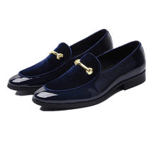 Quality Black / Blue Loafers Boys Prom Shoes Genuine Leather Social Shoes Mens Wedding Shoes(China)