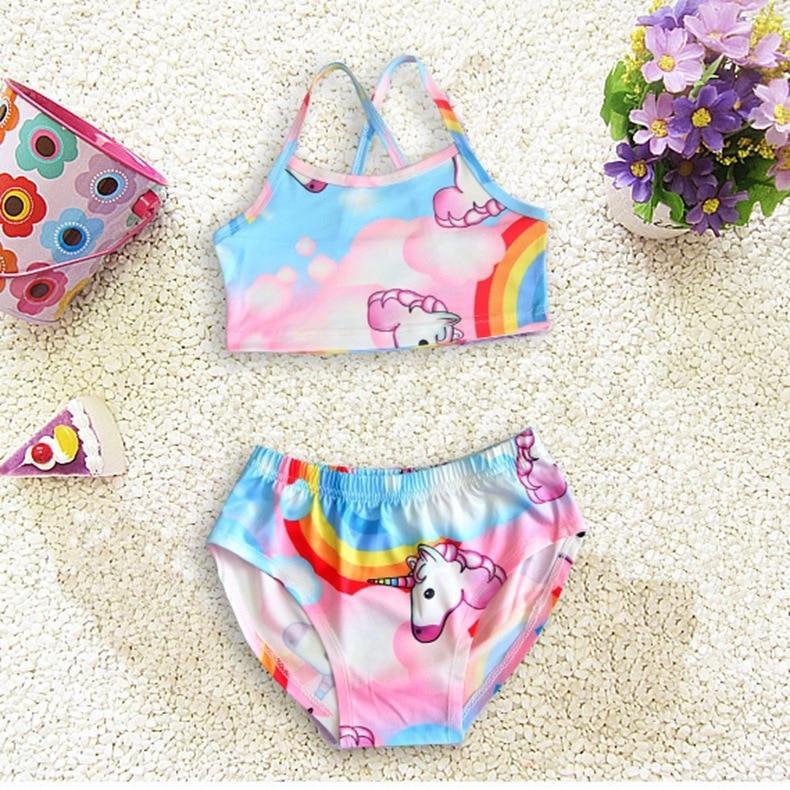 Childrenswear 2018 Children Summer Swimwear INS Hot Selling Girls Swimwear Cute Unicorn Split Type 2 Pieces Bathing Suit
