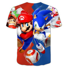 Mario Bros kids clothes classic cartoon Mario Sonic Sport 3D T-shirt new Harajuku style game Mario Boys Clothes Street T-shirt 1