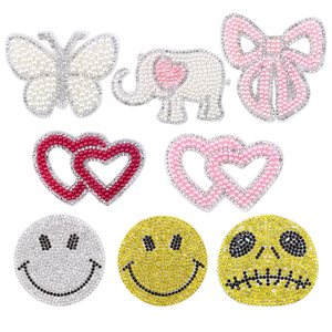 Pearl Rhinestone Star Patches Sew on Stickes Applique 3D Handmade Beaded Diy for T-shirt Appliques Clothes Stickers Clothing