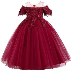 Image 5 - Robe de concours en dentelle pour filles, longue, tenue de soirée, de mariage, de fête danniversaire, de Communion, de pétales
