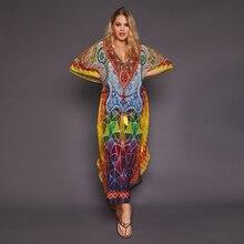 2020 Khô Nhanh Bohemian In Hình Tua Rua Đi Biển Mùa Hè Đầm Maxi Cotton Áo Thun Nữ Plus Kích Thước Đi Biển Bơi Che q999