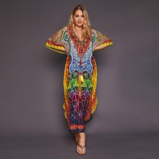 2020 Quick drying Bohemian Printed Tassel Summer Beach Maxi Dress Cotton Tunic Women Plus Size Beachwear SwimSuit Cover Up Q999