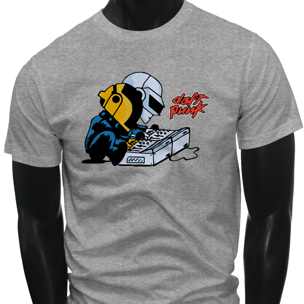 DJ EDM Music Daft Punk Charlie Brown Mens Gray T-Shirt image