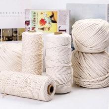 2mm 3mm 4mm 5mm Macrame Cord Rope String Cotton Thread Cord Handmade Crafts DIY Beige Braided Twisted Twine Wedding Decoration