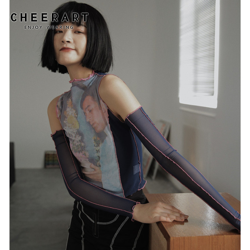 CHEERART Designer Mesh Top Long Sleeve Off Shoulder Top See Through T Shirt Women Tee Shirt Summer Fashion Tops