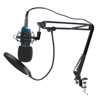 Bm 800 Condenser Microphone for Computer with Metal Shock Mount Pop Filter Audio 3.5mm Wired Studio For Radio broadcasting
