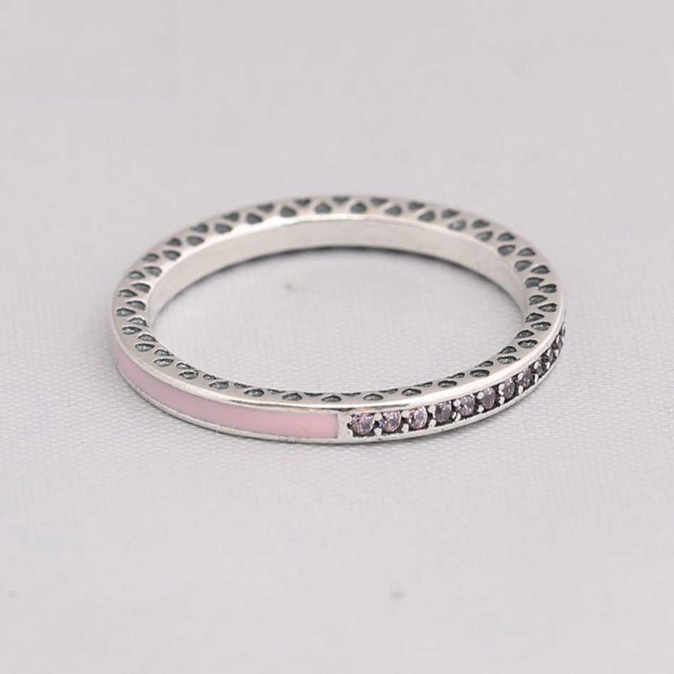 แท้ 925 เงินสเตอร์ลิงแหวน Radiant Hearts แหวนคริสตัล CZ เครื่องประดับเลดี้สีชมพู
