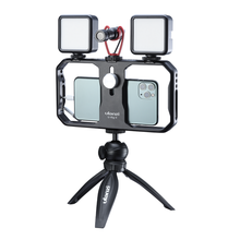 Ulanzi u-rig ii smartphone estabilizador metal rig telefone gaiola w 3 montagem sapata fria led luz de vídeo mic universal para iphone android