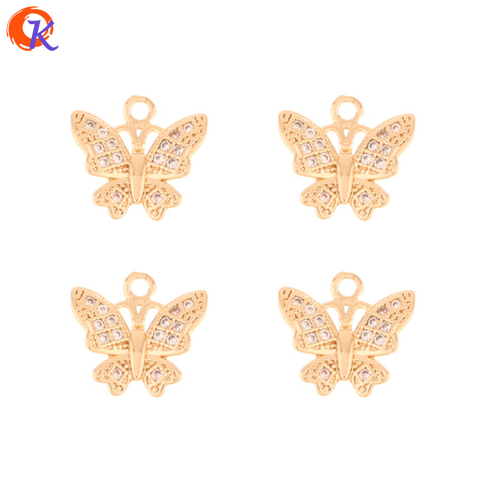 Cordial Design 50Pcs 12*12MM Jewelry Accessories/Hand Made/CZ Pendant/Butterfly/Rhinestone Charms/DIY Making/Earring Findings