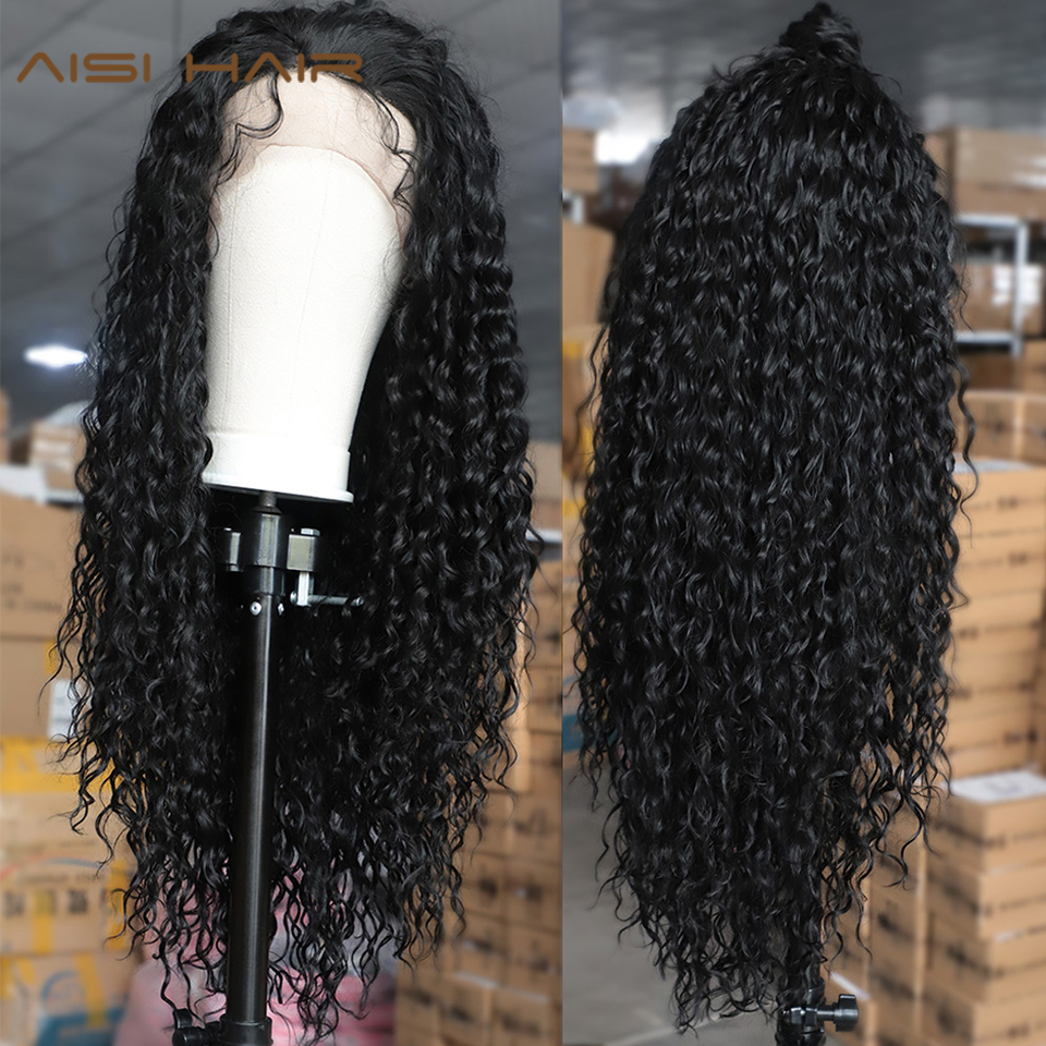 AISI HAIR Black Long Curly Lace Wigs with Baby Hair for Women 13x4 Loose Hair Synthetic Lace Front Wigs Heat Resistant Fiber