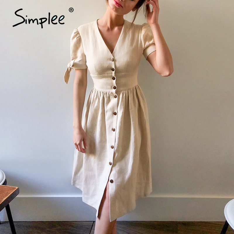 Simplee Sexy V-neck Cotton Women Summer Dress Elegant Buttons Puff Sleeve Female Solid Sundress Office Work Ladies Midi Dresses