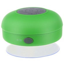 Waterproof Mini Handsfree Speaker jukeboxes Bluetooth USB 2.5 mm Microphone for Mobile with Suction Cup - Green(China)
