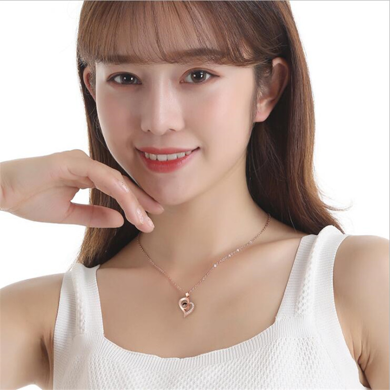 H5be1dbd332c44fb18e87884d9a1d6fbfs - Rose Gold 100 languages I love you Projection Pendant Necklace Romantic Love Memory Wedding Necklace